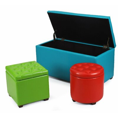 Adeco Trading Home 3 Piece Storage Ottoman Set