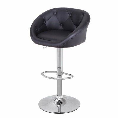 Adeco Trading Adjustable Height Swivel Bar Stool with Cushion