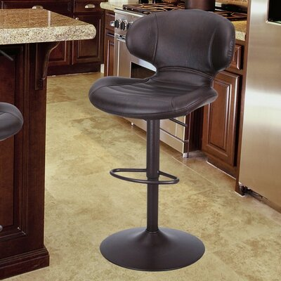 Adeco Trading Adjustable Height Bar Stool with Cushion