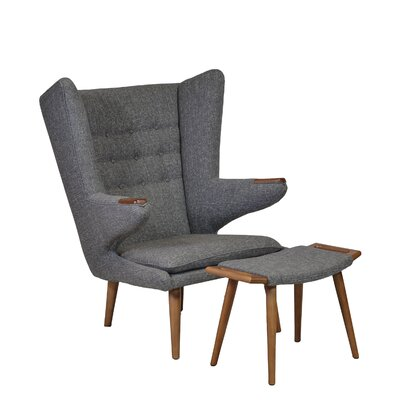 Design Tree Home Papa Bear Wingback Chair and Ottoman