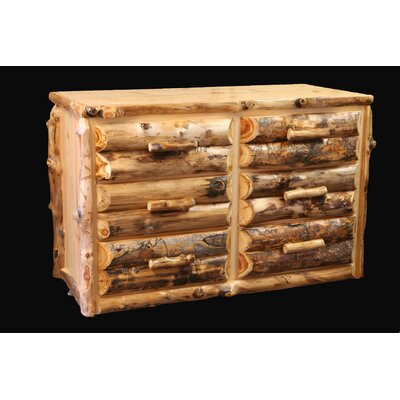 Utah Mountain Aspen Half Log Front 6 Drawer Dres..
