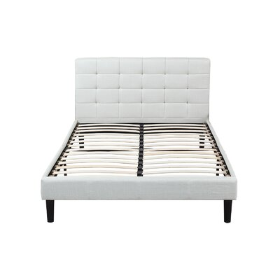 Madison Home USA Classic Deluxe Linen Low Profile Platform Bed Frame with Tufted Headboard Design