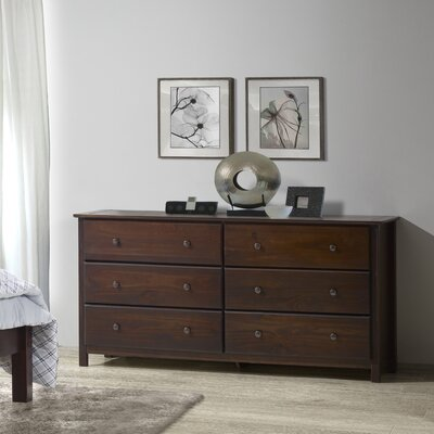 Grain Wood Furniture Shaker 6 Drawer Dresser