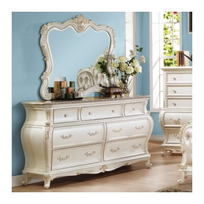 Meridian Furniture USA Marquee 7 Drawer Dresser with Mirror