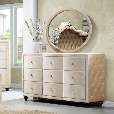 Meridian Furniture USA Diamond 9 Drawer Dresser with Mirror