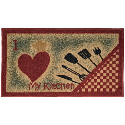 rugnur cucina i love my kitchen and utensils cream red kitchen area rug reviews wayfair. Black Bedroom Furniture Sets. Home Design Ideas