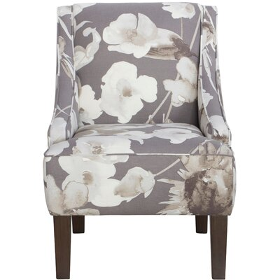 Canora Grey Hedding Cotton Upholstered Arm Chair in Grey & White