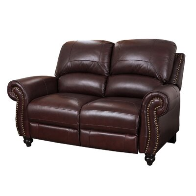 Darby Home Co Kahle Leather Reclining Loveseat