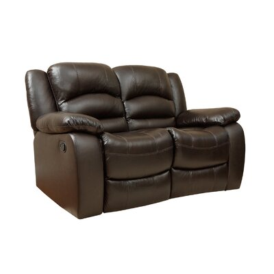 Darby Home Co Jorgensen Italian Leather Reclining Loveseat