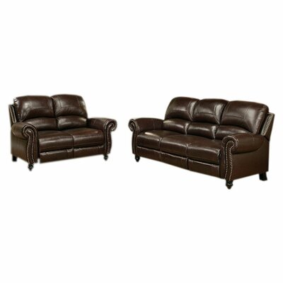 Darby Home Co Kahle Leather Sofa and Loveseat Set