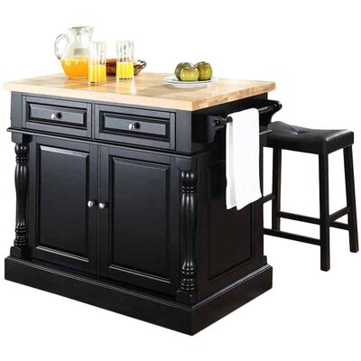 Darby Home Co Lewistown 3 Piece Kitchen Island Set with Butcher Block Top