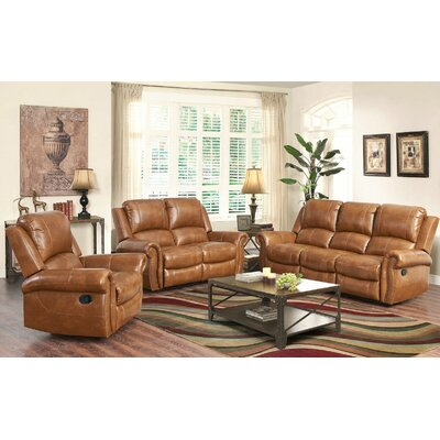 Darby Home Co Bitter Root 3 Piece Leather Living Room Set