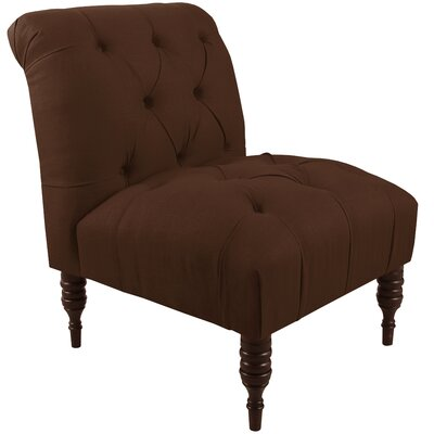 Alcott Hill Tufted Chair in Linen Chocolate