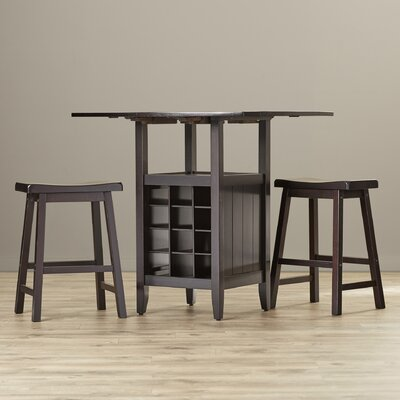 Alcott Hill Carisbrooke 3 Piece Pub Table Set in Espresso