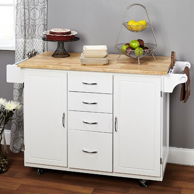 Alcott Hill Harwick Kitchen Island with Wooden Top