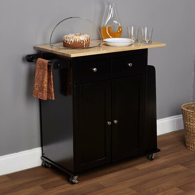 Alcott Hill Dunbar Kitchen Cart with Wooden Top