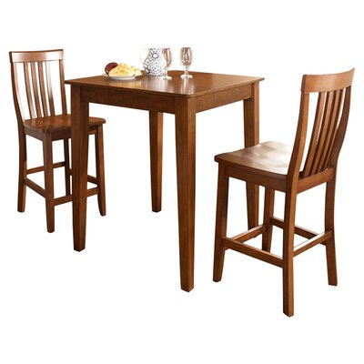 Charlton Home Bagwell 3 Piece Pub Table Set with Tapered Leg Table and Barstools