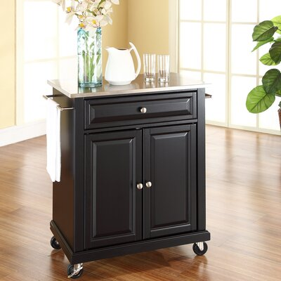Charlton Home Bainbridge Kitchen Cart with Stainless Steel Top