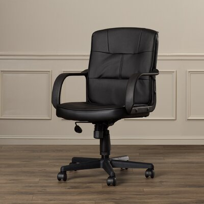 Charlton Home Reeve Low-Back Leather Office Chair with Nylon Arms (Set of 2)