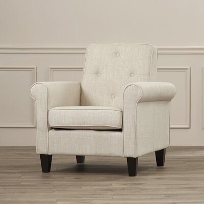 Charlton Home Coll Tufted Upholstered Lounge Chair in Beige Linen
