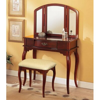 Charlton Home Livingston 3-Piece Vanity Set with Trifold Mirror