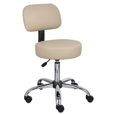 Varick Gallery Soundview Adjustable Height Durable Caressoft Doctor's Stool with Back Cushion