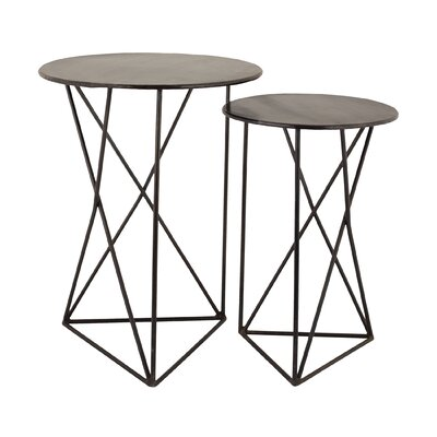 Brayden Studio Brien 2 Piece Geometric End Table Set