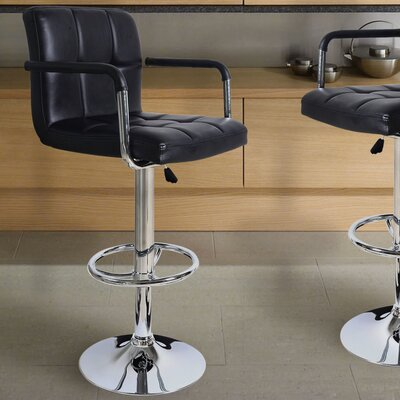 Brayden Studio Adjustable Height Swivel Bar Sto..