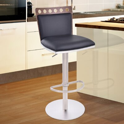Brayden Studio Kang Adjustable Height Swivel Bar Stool with Cushion