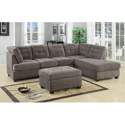 Brayden Studio Aedesia  Piece Waffle Suede Sectional Sofa with Square Stitching Pattern
