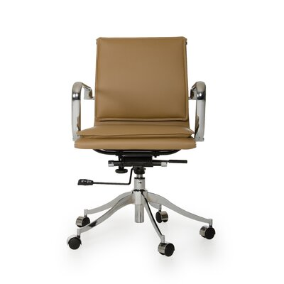 Wade Logan Carter Low-Back Leather Office Chair with Arms