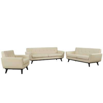 Corrigan Studio Saginaw 3 Piece Leather Living Room Set