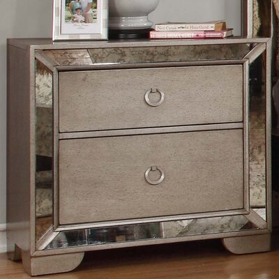 BestMasterFurniture Ava 2 Drawer Nightstand