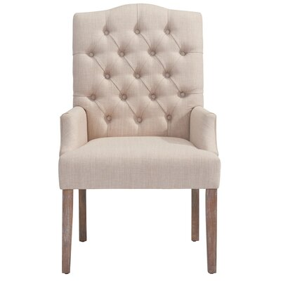 !nspire Linen Button Tufted Arm Chair