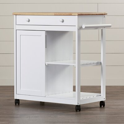 August Grove Allie Kitchen Cart with Wooden Top