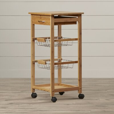 August Grove Girard Kitchen Cart with Bamboo Top