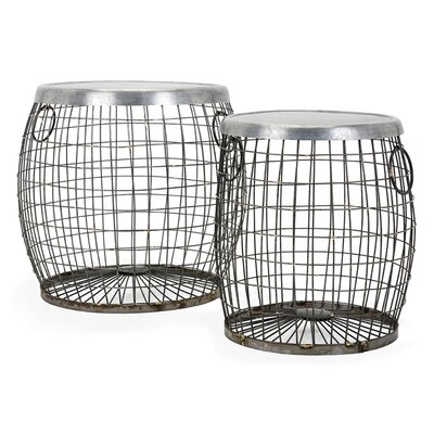 August Grove 2 Piece Balaz Wire End Table Set