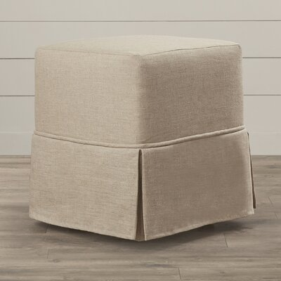 One Allium Way Twin Bridges Cube Prairie Linen Skirted Ottoman