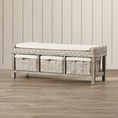 Beachcrest Home Magellan Wood Storage Bedroom Bench
