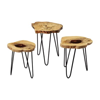 Loon Peak Redwood Mirrored Hourglass Foot Stool