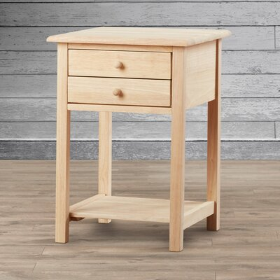 August Grove Imogene Wood 2 Drawer End Table