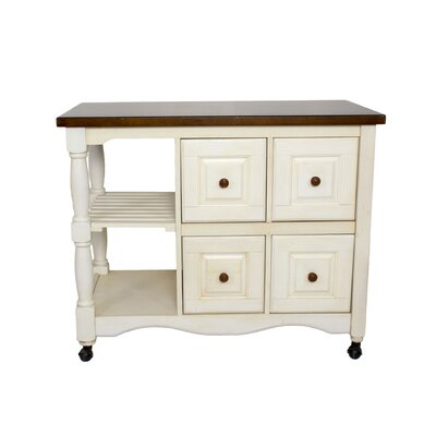Loon Peak Lockwood 4 Drawer 2 Shelf Kitchen Cart
