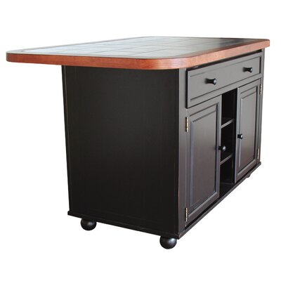 Loon Peak Lockwood Kitchen Island with Ceramic Tile Top