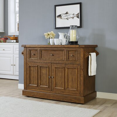 Loon Peak Ordway Kitchen Island with Marble Top