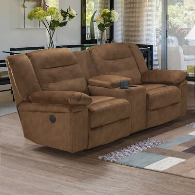 Loon Peak Hodgdon Serta Upholstery Power Double Recliner Loveseat