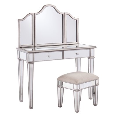 House of Hampton 2-Piece Kaila Mirrored Vanity & Stool Set