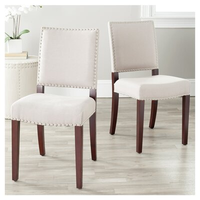 House of Hampton Evelette Bicast Leather Side Chairs in Cream (Set of 2)