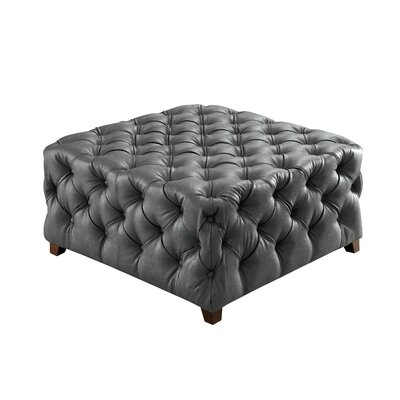 House of Hampton Bowie Leather Tufted Square Ottoman
