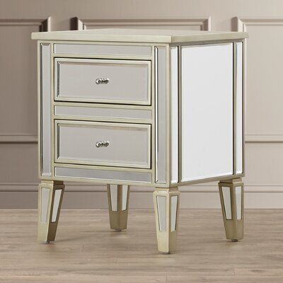 House of Hampton Margate Mirrored 2 Drawer End Table