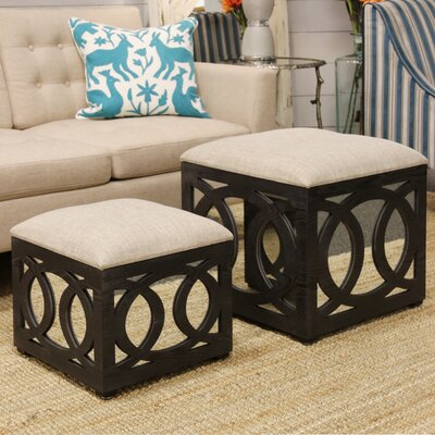 House of Hampton Yarm Mirrored Square Nesting Ottoman